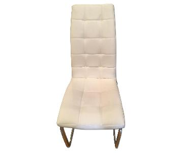 White Faux-Leather Dining Chairs