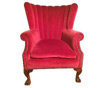 Vintage Red Velvet Boudoir Scalloped Chair