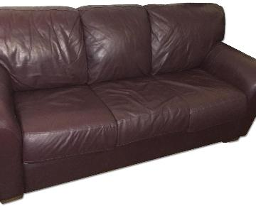 Bloomingdales Leather Sleeper Sofa + Loveseat