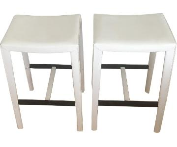 Crate & Barrel Folio Leather Backless Bar Stools