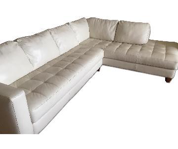Macy's Natuzzi White Leather 2 Piece Sectional Sofa w/ Chaise