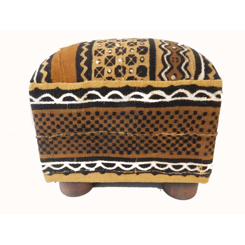 African Malian Mud Cloth Bogolan Textile Ottoman AptDeco