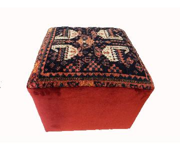 Antique Kurdish Rug Square Ottoman