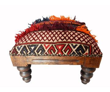 Tribal Afghan Rug Footstool