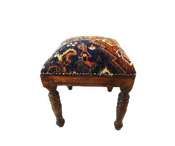 Antique Tribal Qashquai Rug Wood Stool