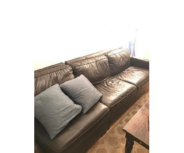 West Elm Black Leather Couch