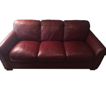 Coleman Furniture Red Leather Sofa