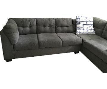 Jennifer Convertibles Charcoal Sectional Sofa w/ Full Size Sleeper
