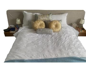 Design Within Reach Parallel Wide Queen Size Bed w/ 2 Night Tables