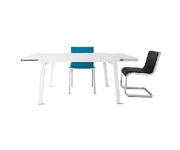 CB2 White Lacquer Pocket Extension Dining Table