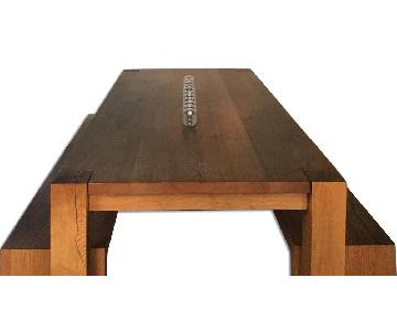 Crate & Barrel Big Sur Dining Table w/ 2 Custom-Made Benches