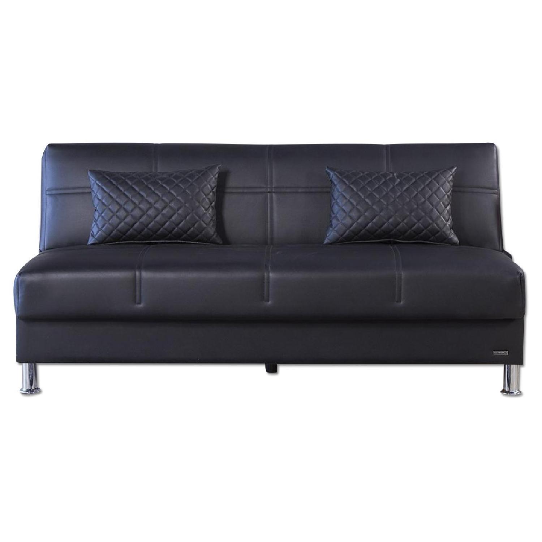 Eco Rest Click-Clack Futon in Black Leatherette