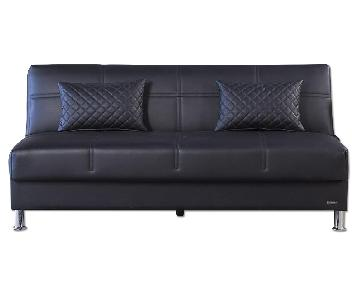 Eco Rest Click-Clack Futon in Black Leatherette