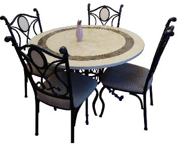 Marble Dining Table w/ 4 Chairs