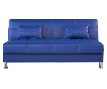 Eco Rest Click-Clack Futon in Blue Leatherette