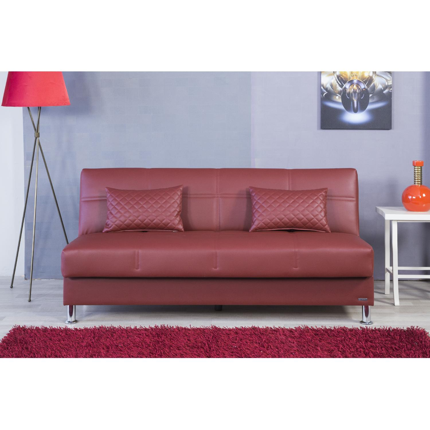 eco rest click-clack w/ storage in red leatherette - aptdeco