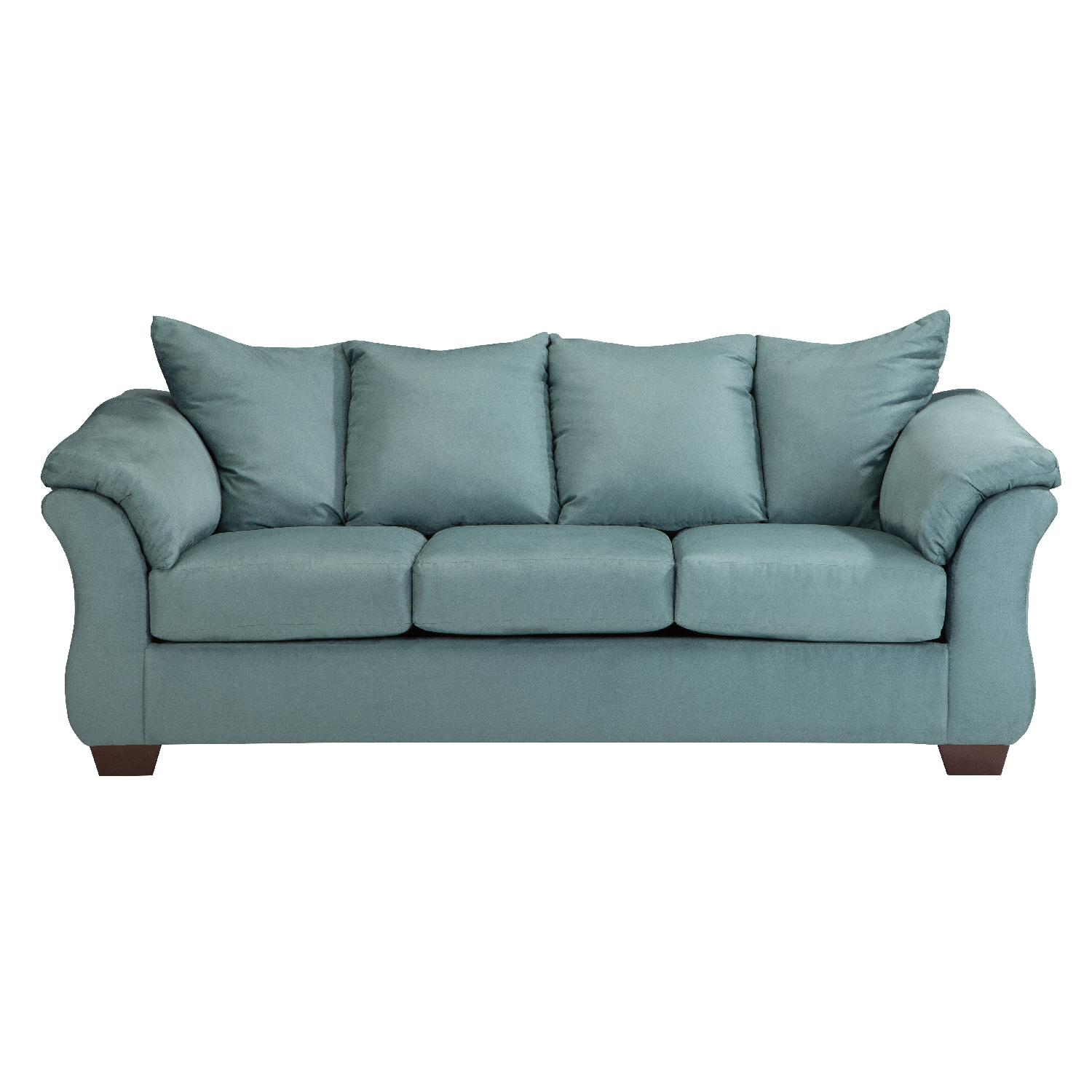 Ashley's Darcy Contemporary Sofa in Sky Blue Microsuade