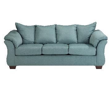 Ashley's Darcy Contemporary Sofa in Sky Blue Microsuade