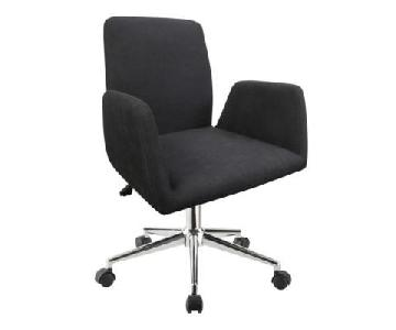 Modern Office Chair in Padded Black Woven Fabric Cushions & Chrome Base