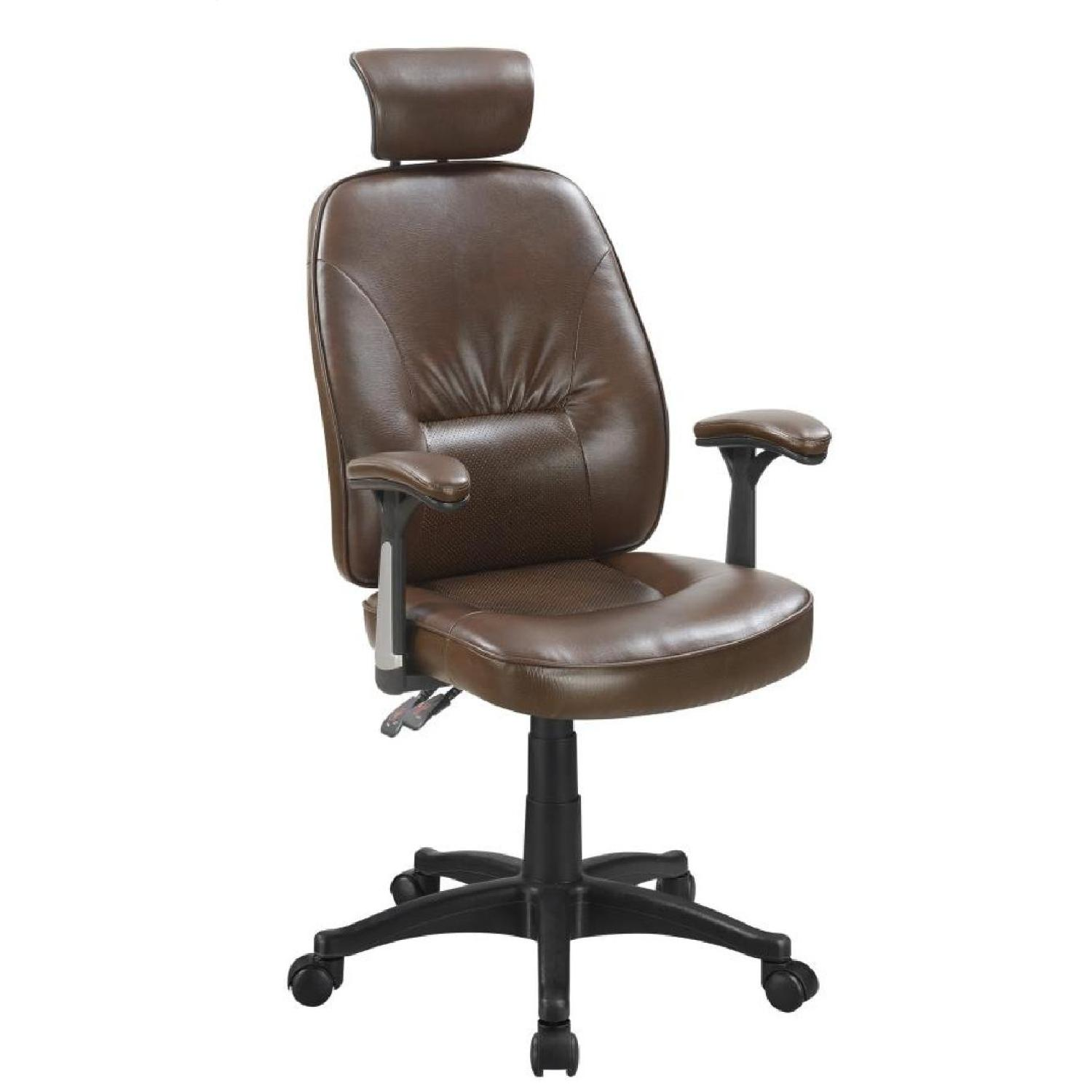 Office Chair in Padded Brown Leatherette w/ Arm & Head Rests