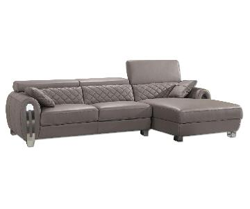 Modern Sectional in Full Italian Leather in Light Brown w/ A