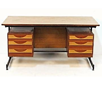 Teak Iron Mid Century Modern Desk/Writing Table w/ Drawers