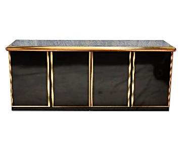Large Black Lacquer Modern Credenza