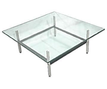 Poul Kjaerholm Mid-Century Steel & Glass Coffee Table