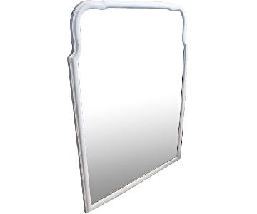 Vintage Beveled Glass Mid Century White Painted Wall Mirror