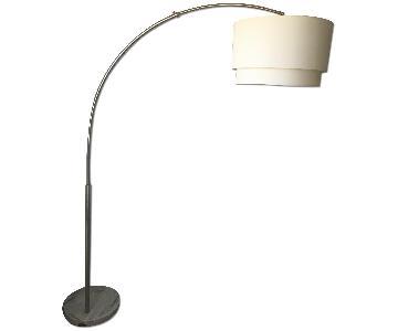Adjustable Arching Floor Lamp w/ Steel Shade & Marble Base