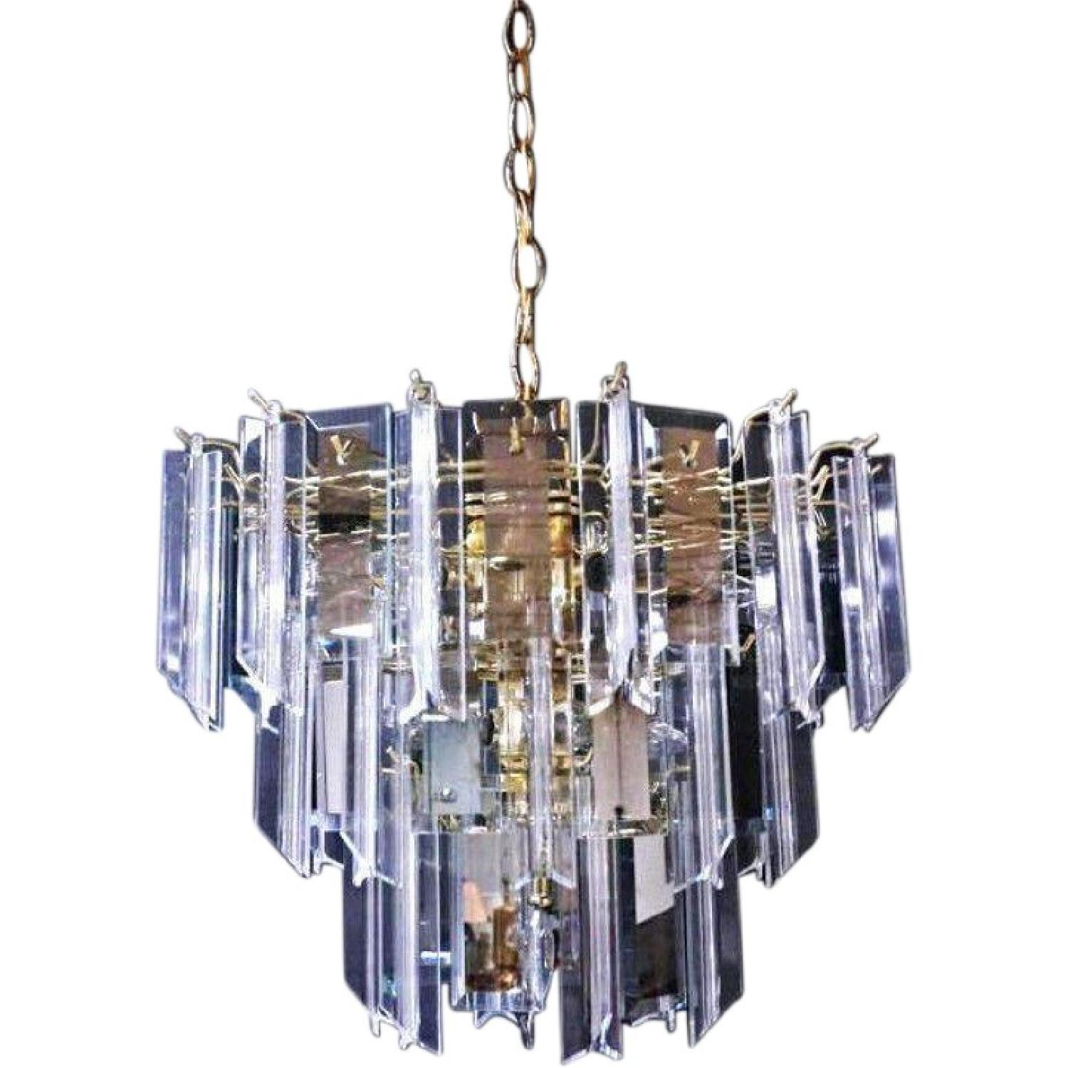 Modern Smoked Glass Mirror Lucite Chandelier