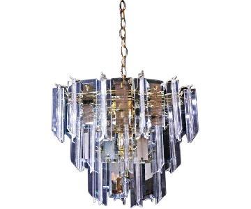 Modern Smoked Glass Mirror Lucite Chandelier