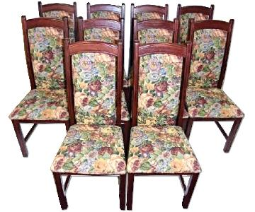 Vintage Tapestry Upholstered Side Dining Chairs