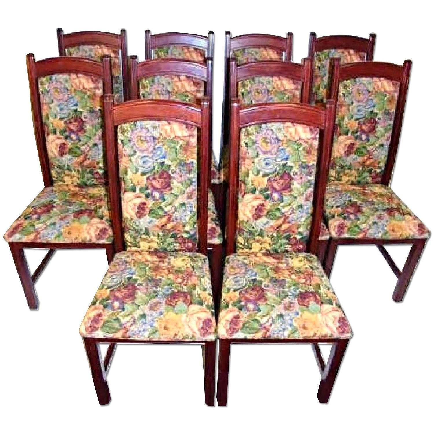 Vintage Tapestry Upholstered Side Dining Chairs ...