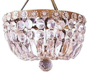 Dome Form Brass Crystal Chandelier