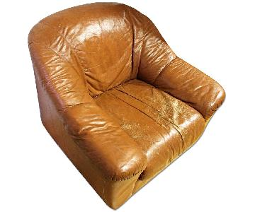 Natuzzi Brown Leather Lounge Club Chair