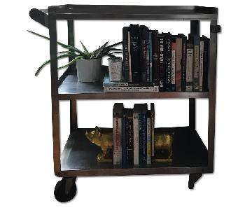 Vintage Metal Rolling Bar Cart/Bookcase