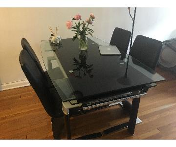 Modern Extendable Glass Dining Table w/ 4 Chairs