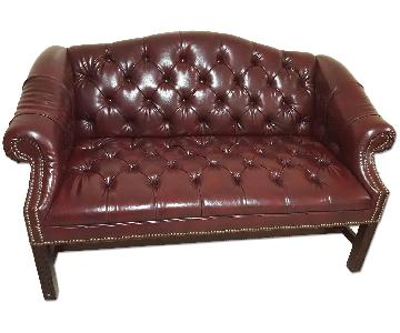 Ralph Lauren Leather Studded Love Seat/Settee