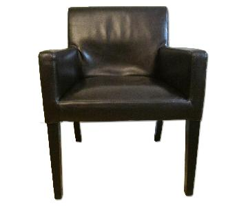 Crate & Barrel Bonded Leather Armchairs
