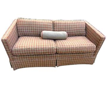 Houndstooth Red Brown Wool Modern Track Arm Sofa
