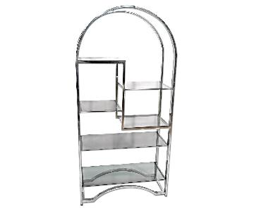 Milo Baughman Mid Century Modern Chrome Arched Top Etagere w