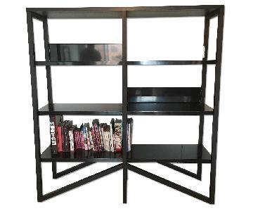 Habitat Black Wood & Metal Shelves