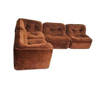 Mid Century 4 Piece Brown Sectional Sofa