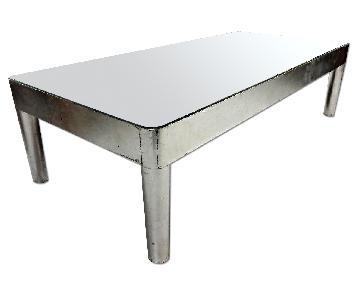 Swedish Mid Century Modern Silver Mirror Glass Top Coffee Table