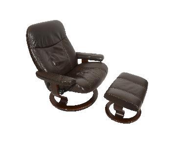 Ekornes Stressless Leather Mid Century Modern Reclining Chair & Ottoman