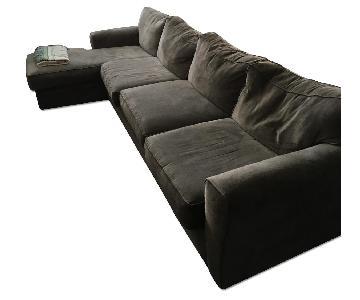 Raymour & Flanigan Grey Suede Sleeper Sectional Sofa