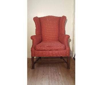 Red Vintage WIngback Armchair
