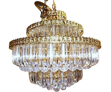 6-Tier Brass Lucite Chandelier