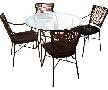 Crate & Barrel Glass Circular Dining Table w/ 4 Chairs
